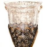 Crackle Glass Vase w/metal base   #V-957