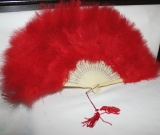 Fan – Red Feathers and faux Ivory      #OF-0890