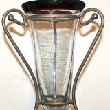 Glass Vase w/metal stand  #V-960