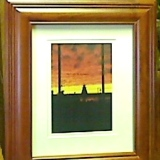 Framed – Sunset at the Saugeen River Light   #WH-5567