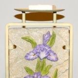 Metal Candle Holder w/Iris Panel   #6404-B