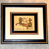 Framed Papyrus – Tutankhamun on a Chariot   #WH-9863