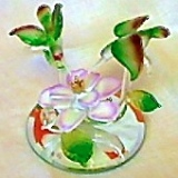 Hummingbirds & Flowers in glass  #25-110A